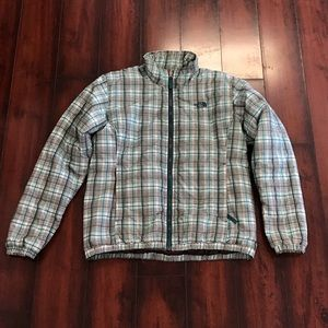 Plaid The North Face puffer jacket